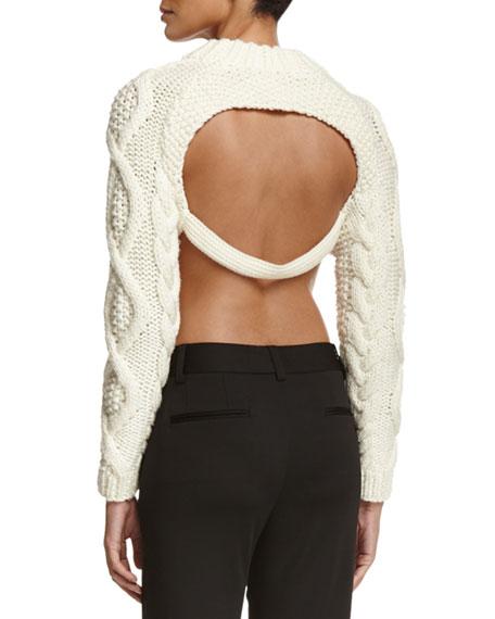 dkny cropped wool open back sweater chalk neiman marcus