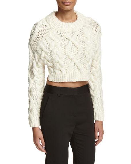 DKNY Cropped Wool Open-Back Sweater, Chalk
