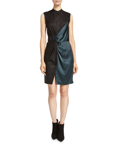 Sleeveless Mixed-Media Shirtdress, Vetiver