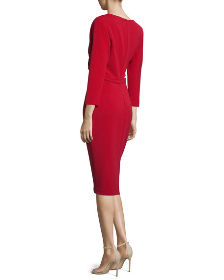 3/4-Sleeve Faux-Wrap Day Dress, Cranberry