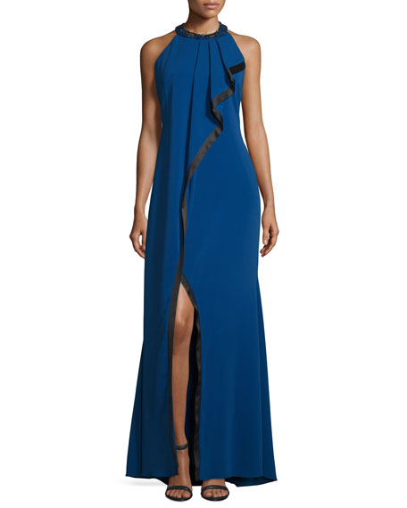 Asymmetric-Ruffle Sleeveless Gown, Blueberry