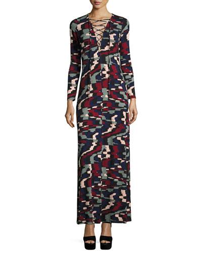 Jolene Long-Sleeve Lace-Up Maxi Dress, Pulse