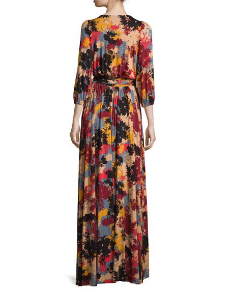 Ingrid Printed Tie-Waist Maxi Dress
