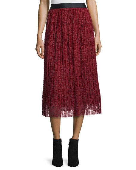 Alice + Olivia Mikaela Pleated Lace Midi Skirt