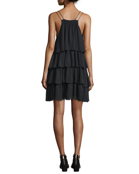 Canyons Tiered Silk Dress, Black
