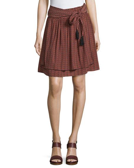 Apiece Apart Baja Ripple-Print Tassel-Tie Skirt