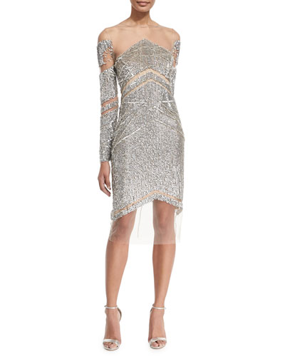 Crystal Long-Sleeve Cocktail Dress, Silver