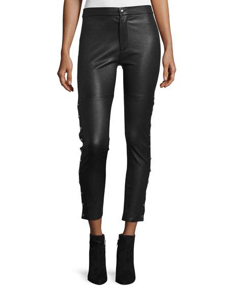 Iro Sabrina Snap-Trim Leather Ankle Pants, Black