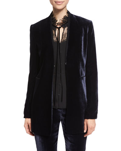 Antoinette Long High-Sheen Blazer Jacket