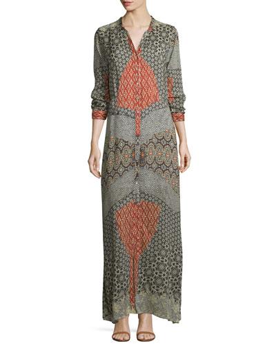 Wish Long-Sleeve Printed Maxi Dress, Multi, Plus SIze