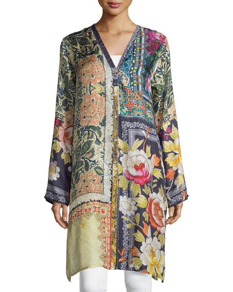 Johnny Was Shiro Printed Button-Front Silk Tunic, Multi,
