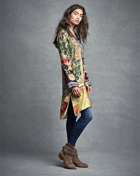 Shiro Printed Button-Front Silk Tunic, Multi