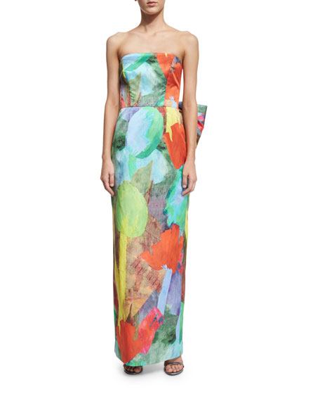 Milly Strapless Abstract Floral-Print Column Dress W/ Bow