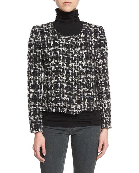 Nalokie Houndstooth Boucle Jacket, Black/White