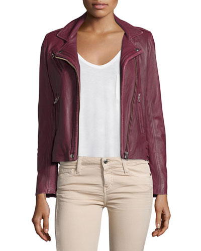 Han Leather Moto Jacket, Wine