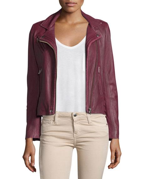 Iro Han Leather Moto Jacket Wine Neiman Marcus