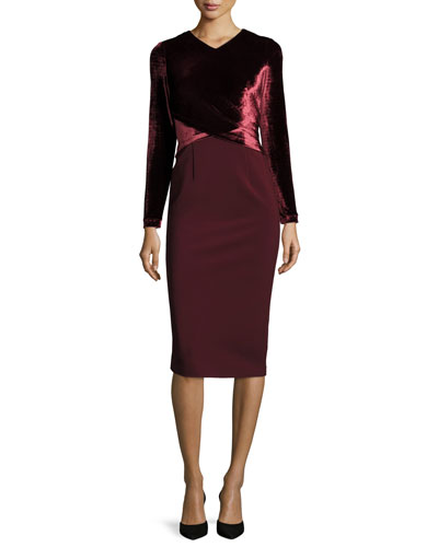 Long Sleeve Faux-Wrap Velvet Jersey Sheath Dress, Claret