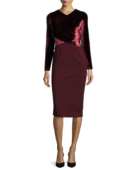 Lafayette 148 New York Long Sleeve Faux-Wrap Velvet