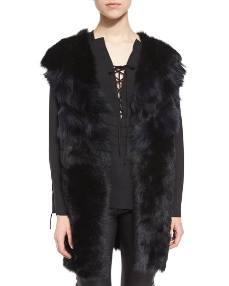 Manami Reversible Shearling Vest, Black/Blue