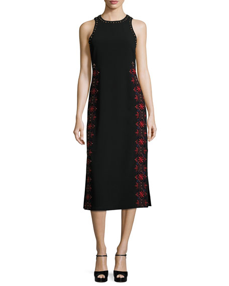 cinq a sept Faye Embroidered & Studded Midi