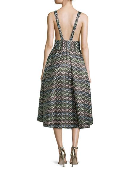 Sleeveless Chevron Brocade Midi Dress, Multicolor