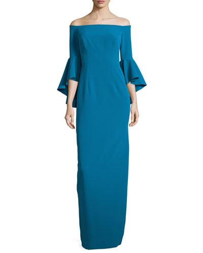 Off-the-Shoulder Column Gown, Azure