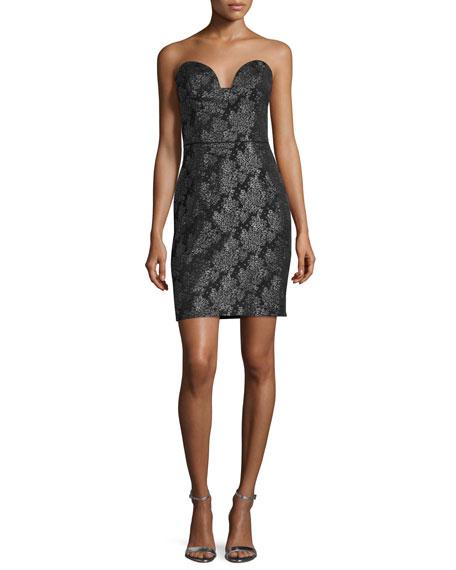 Nicole Miller Blossom Jacquard Strapless Dress, Black