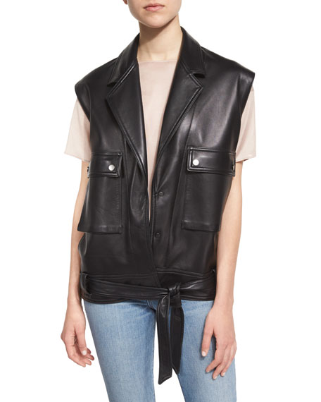 Helmut Lang Oversized Leather Snap-Front Vest, Black