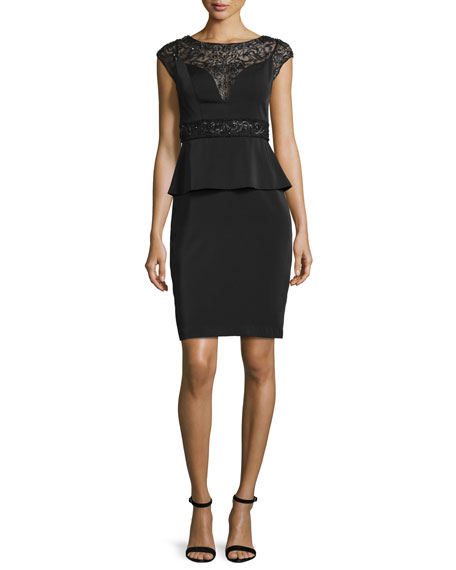 Cap-Sleeve Beaded Peplum Dress, Black