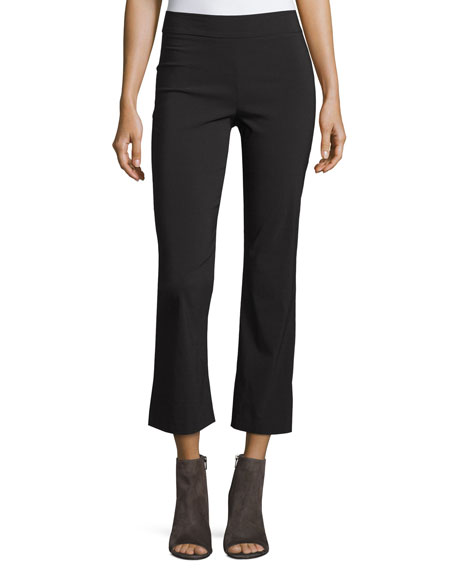Avenue Montaigne Leo Cropped Flare-Leg Pants, Black