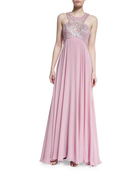 Sue Wong Sleeveless Embellished-Bodice Gown, Rose