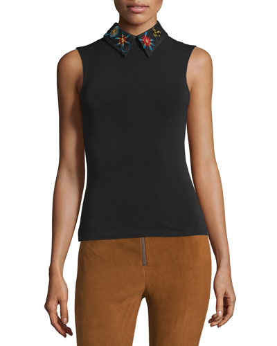 Caryn Embroidered-Collar Sleeveless Top