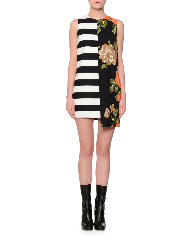 713c613df682 MSGM Sleeveless Floral   Stripe Shift Dress