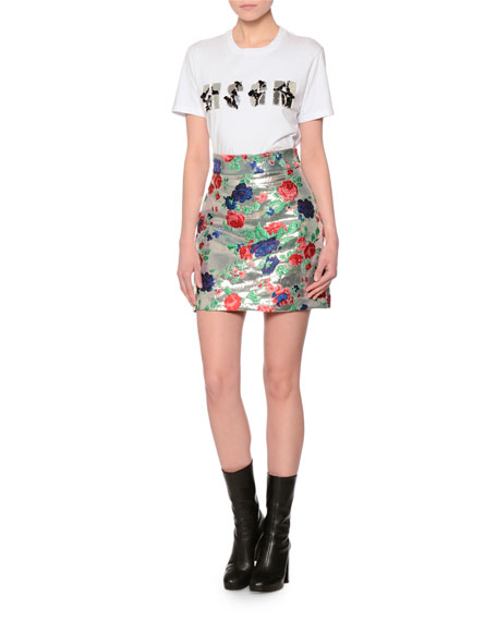 Metallic Rose Brocade Skirt, Silver/Multicolor