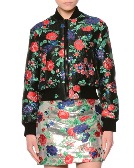MSGM Cropped Floral Brocade Bomber Jacket, Red/Black