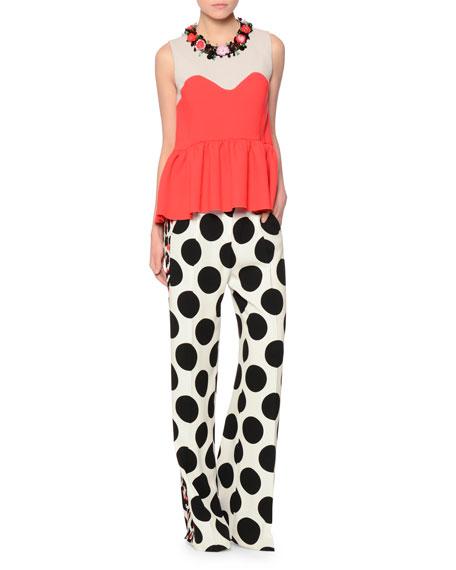 MSGM Polka-Dot Wide-Leg Pants, Black/White