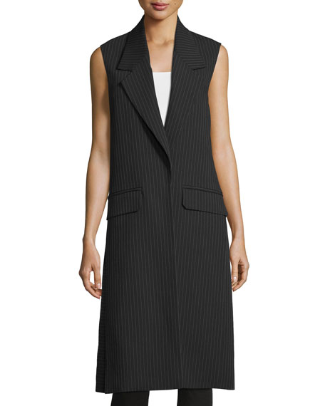Helmut Lang Long Striped Vest, Navy/Gray