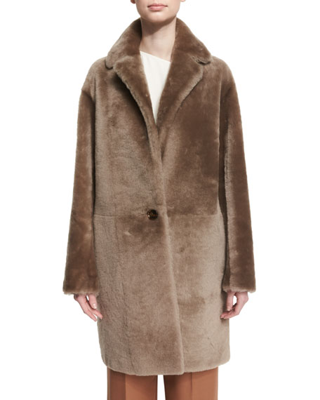 Reversible Shearling Coat, Bisque