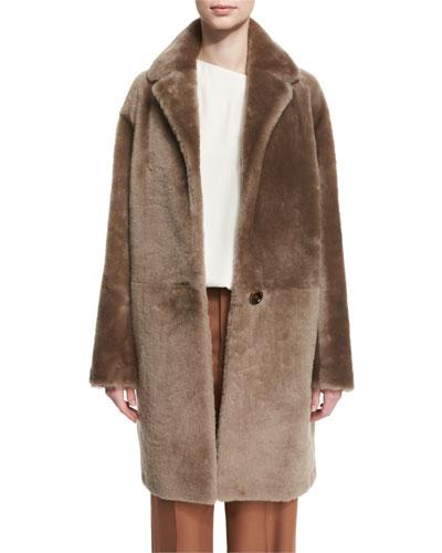 Reversible Shearling Coat, Bisque
