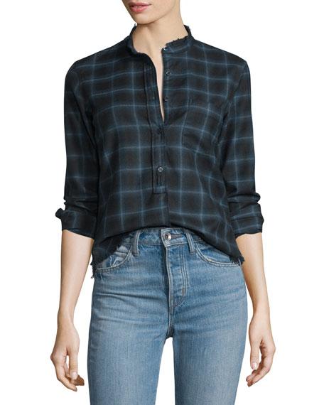 Helmut Lang Shrunken Plaid Pullover Shirt, Navy