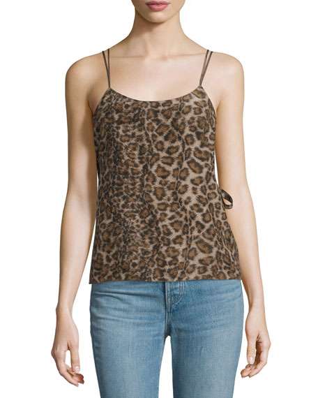 Helmut Lang Silk Leopard Overlay Top & High-Rise