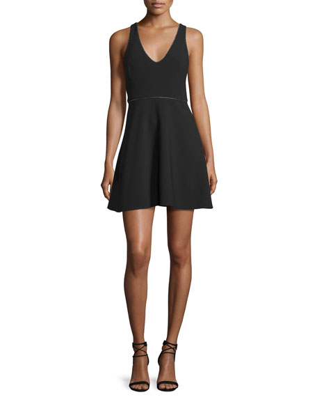 Halston Heritage Sleeveless Embellished Fit-&-Flare Dress, Black