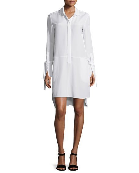 Halston Heritage Long-Sleeve High-Low Stretch-Faille Shirtdress,