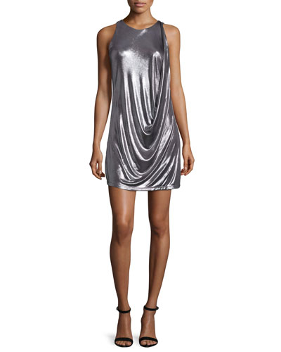 Sleeveless Round-Neck Draped Foil Mini Dress, Gunmetal