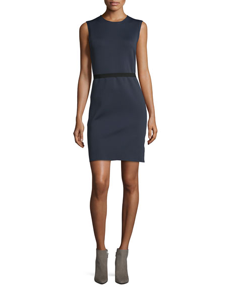 Helmut Lang Sleeveless Scuba Sheath Dress, Navy