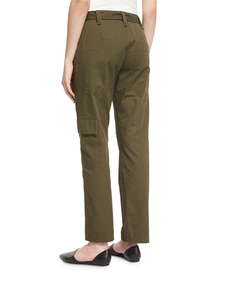 Enzyme-Wash Twill Straight-Leg Pants, Loden Green