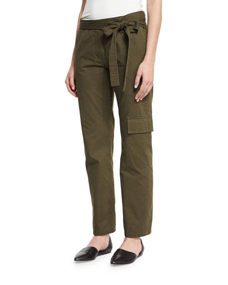 Tibi Enzyme-Wash Twill Straight-Leg Pants, Loden Green