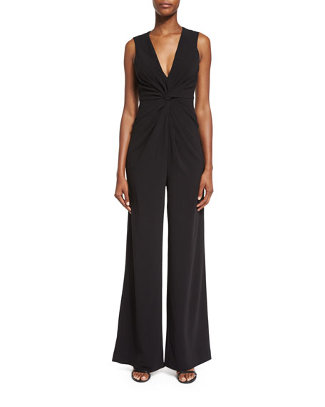 Sleeveless V-Neck Jumpsuit, Black