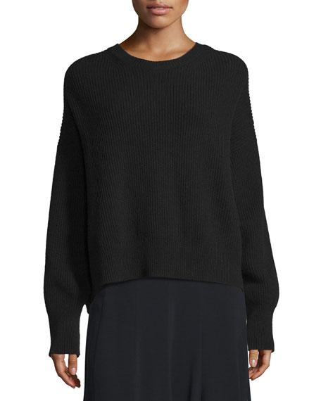 Helmut Lang Ribbed Open-Back Sweater, Black