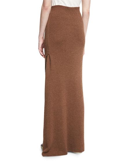 Transfer-Knit Maxi Skirt, Terra